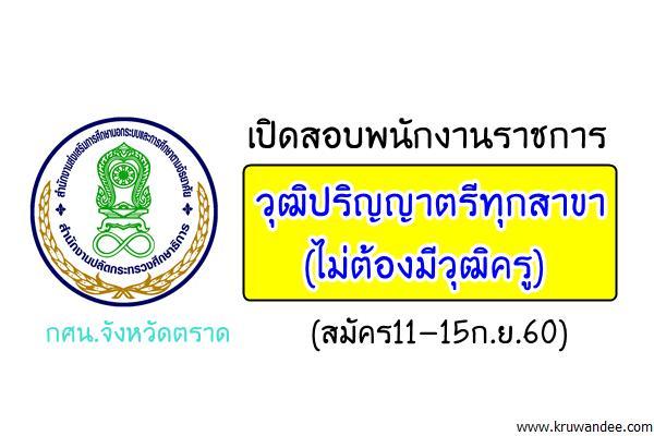 สำนักงาน กศน.จังหวัดตราด เปิดสอบพนักงานราชการ วุฒิปริญญาตรีทุกสาขา(สมัคร11-15ก.ย.60)