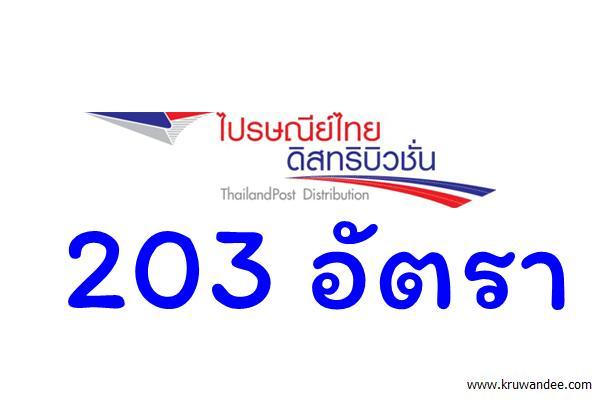 บริษัท ไปรษณีย์ไทยดิสทริบิวชั่น รับสมัครเข้าทำงาน 203 อัตรา