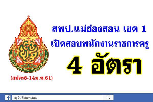 สพป.แม่ฮ่องสอน เขต 1 เปิดสอบพนักงานราชการครู 4 อัตรา (สมัคร8-14ม.ค.61)