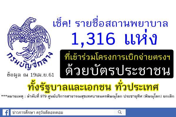 เช็ครายชื่อ!! สถานพยาบาล1,316แห่ง ที่เข้าร่วมโครงการเบิกจ่ายตรงค่ารักษาพยาบาลด้วยบัตรประชาชน (เริ่มใช้4พ.ค61)