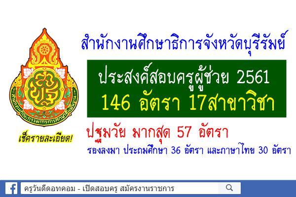 ศธจ.บุรีรัมย์ ประสงค์สอบครูผู้ช่วย 2561 จำนวน 146 อัตรา 17สาขาวิชา