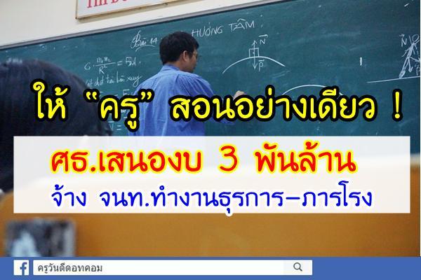 """ให้ """"ครู"""" สอนอย่างเดียว ! ศธ.เสนองบ 3 พันล้าน จ้าง จนท.ทำงานธุรการ-ภารโรง"""