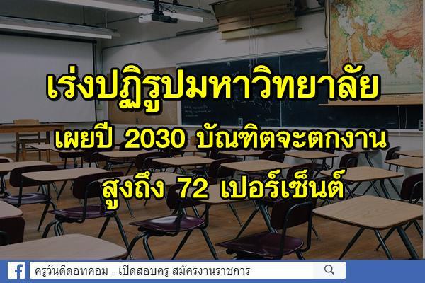 เร่งปฏิรูปมหาวิทยาลัย เผยปี 2030 บัณฑิตจะตกงานสูงถึง 72 เปอร์เซ็นต์