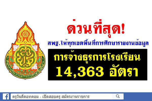 ด่วนที่สุด! สพฐ.ให้ทุกเขตพื้นที่การศึกษารายงานข้อมูล การจ้างธุรการโรงเรียน 14,363 อัตรา