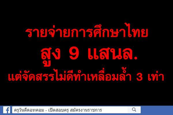 รายจ่ายการศึกษาไทยสูง 9 แสนล. แต่จัดสรรไม่ดีทำเหลื่อมล้ำ 3 เท่า