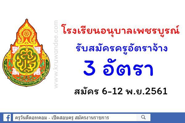 โรงเรียนอนุบาลเพชรบูรณ์ รับสมัครครูอัตราจ้างวิชาเอกคอมพิวเตอร์ 3 อัตรา ตั้งแต่6-12พ.ย.61