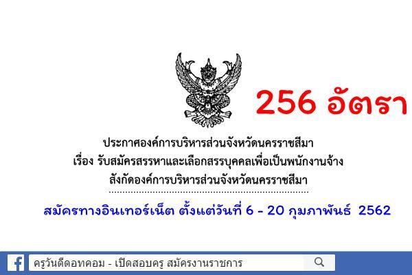 อบจ.นครราชสีมา เปิดสอบเป็นพนักงานจ้าง 256 อัตรา สมัคร 6-20 กุมภาพันธ์ 2562