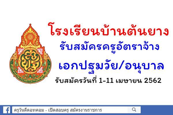 โรงเรียนบ้านต้นยาง ครูอัตราจ้างเอกปฐมวัย/อนุบาล รับสมัครวันที่ 1-11 เมษายน 2562