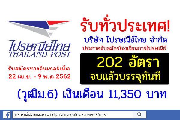 รับทั่วประเทศ ไปรษณีย์ไทย รับสมัครพนักงาน ปี2562 จำนวน 202 อัตรา วุฒิม.6 จบแล้วบรรจุ เงินเดือน 11,350 บาท