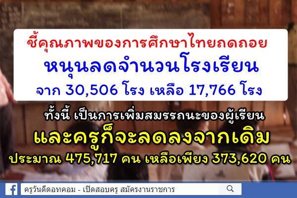 ชี้คุณภาพของการศึกษาไทยถดถอยหนุนลดจำนวนโรงเรียน
