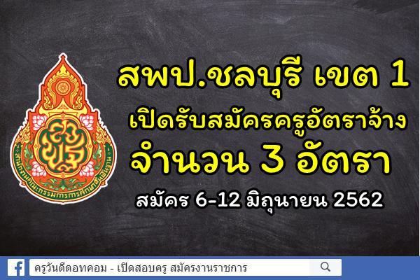 สพป.ชลบุรี เขต 1 เปิดรับสมัครครูอัตราจ้าง 3 อัตรา - สมัคร 6-12 มิถุนายน 2562