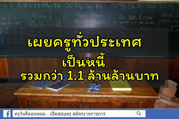 เผยครูทั่วประเทศ เป็นหนี้รวมกว่า 1.1 ล้านล้านบาท