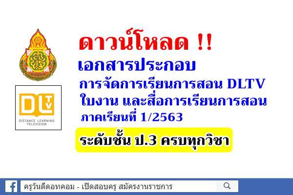 ดาวน์โหลดใบงาน สื่อการสอน DLTV ชั้นประถมศึกษาปีที่ 3 ภาคเรียนที่ 1/2563 ครบทุกวิชา