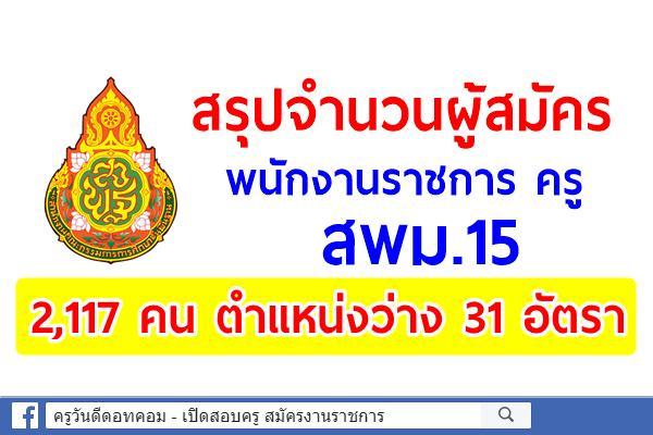 สพม.15 สรุปยอดสมัครพนักงานราชการ 2,117 คน ตำแหน่งว่าง 31 อัตรา