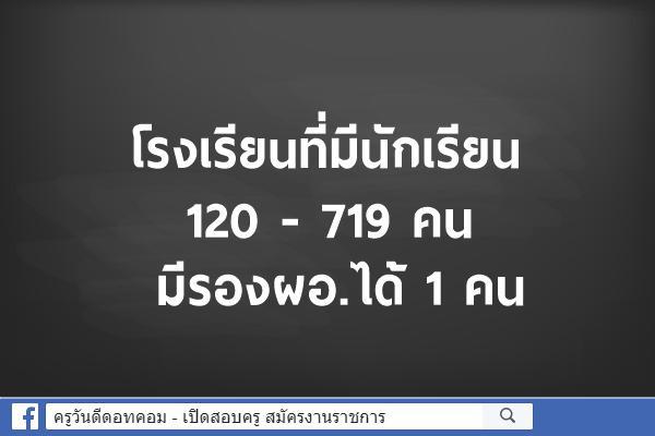 โรงเรียนที่มีนักเรียน 120 - 719 คน มีรองผอ.ได้ 1 คน