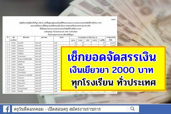 เช็กรายละเอียดที่นี่! บัญชีจัดสรรฯ เงินเยียวยา 2000 บาท รายโรงเรียน และหน่วยเบิก ทั่วประเทศ
