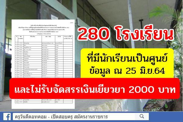 280 โรงเรียน ที่มีนักเรียนเป็นศูนย์ ณ 25 มิ.ย.64 และไม่รับจัดสรรเงินเยียวยา 2000 บาท