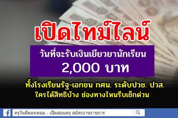 เช็กที่นี่! เปิดไทม์ไลน์วันที่จะรับเงินเยียวยานักเรียน 2,000 บาท เข้าลิงก์ตรวจสิทธิ
