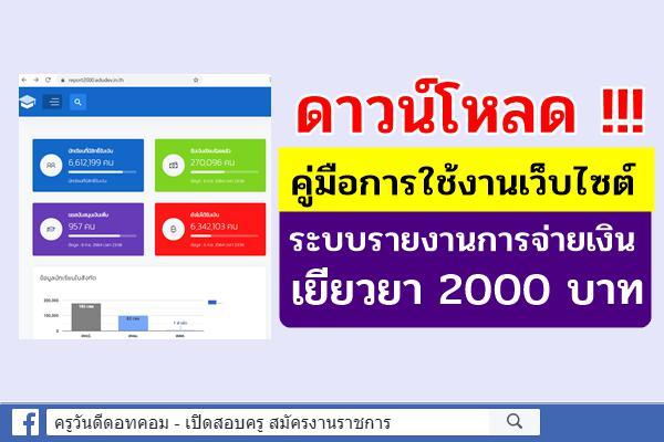 ดาวน์โหลด!!! คู่มือการใช้งานเว็บไซต์ ระบบรายงานการจ่ายเงินช่วยเหลือนักเรียน เยียวยา 2000 บาท