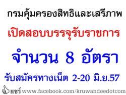 กรมคุ้มครองสิทธิและเสรีภาพ เปิดสอบบรรจุรับราชการ จำนวน 8 อัตรา - รับสมัครทางเน็ต 2-20 มิถุนายน 2557