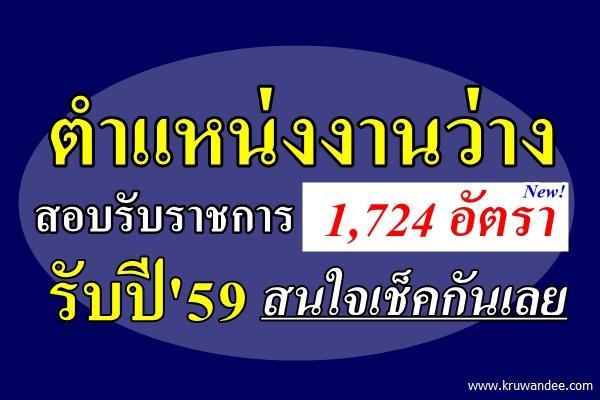 ตำแหน่งงานว่าง เปิดสอบรับราชการ 1,724 อัตรา รับปีใหม่59 สนใจเช็คกันเลย