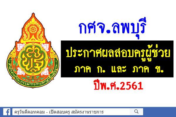 กศจ.ลพบุรี ประกาศผลสอบครูผู้ช่วย 2551 ภาค ก ข