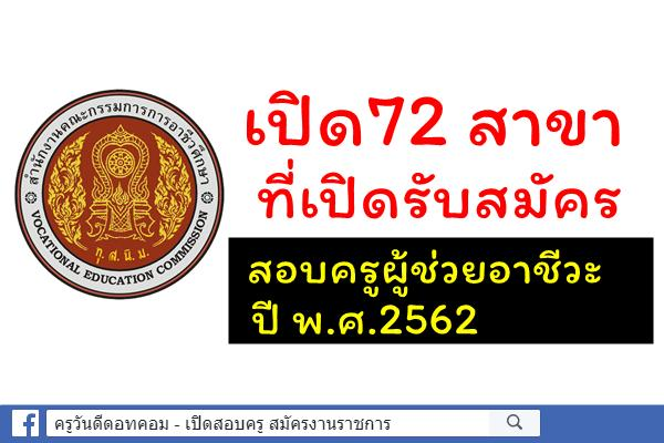 (โปรดรอประกาศอย่างทางการ) เปิด72 สาขาที่เปิดรับสมัครครูผู้ช่วยอาชีวะ 2562