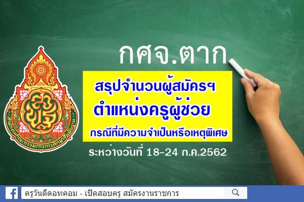 กศจ.ตาก สรุปจำนวนผู้สมัครสอบครูผู้ช่วย กรณีพิเศษ ปี2562 ระหว่าง 18-24 ก.ค.2562
