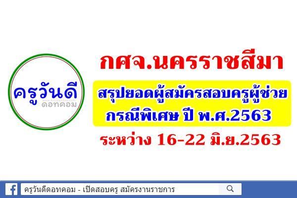 กศจ.นครราชสีมา สรุปยอดผู้สมัครสอบครูผู้ช่วย กรณีพิเศษ ปี 2563 ระหว่าง 16-22 มิ.ย.2563