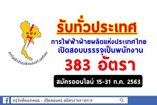 ประกาศแล้ว!! การไฟฟ้าฝ่ายผลิตแห่งประเทศไทย เปิดสอบบรรรจุเป็นพนักงาน 383 อัตรา สมัคร15-31 กรกฎาคม 2563