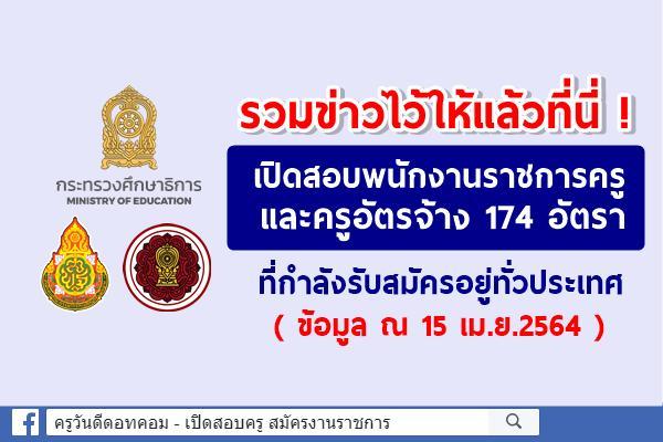 (15เม.ย.2564) รวมข่าว เปิดสอบพนักงานราชการครู และครูอัตรจ้าง 174 อัตรา ที่กำลังรับสมัครอยู่ทั่วประเทศ