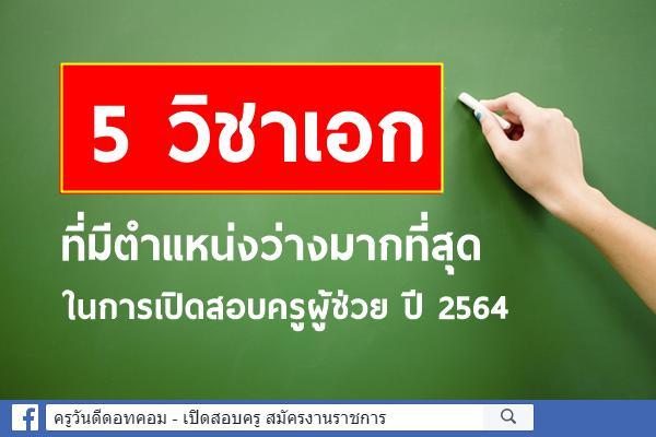 5 วิชาเอก ที่มีตำแหน่งว่างมากที่สุด ในการเปิดสอบครูผู้ช่วย ปี 2564