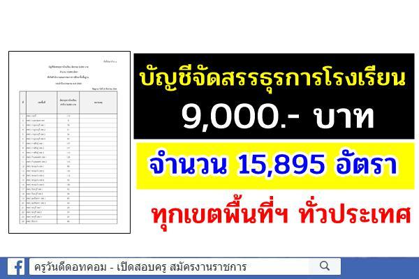 สพฐ.แจ้งจัดสรรธุรการโรงเรียน อัตราละ 9,000.- บาท จำนวน 15,895 อัตรา